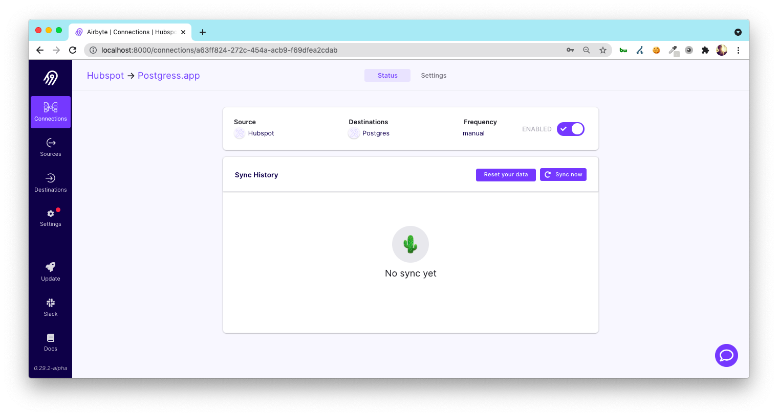 Setting up the first sync with Airbyte