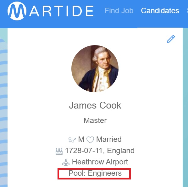 screenshot of the Martide website showing a candidate's profile and their pool
