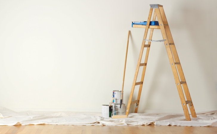 Ladder and other painting supplies.
