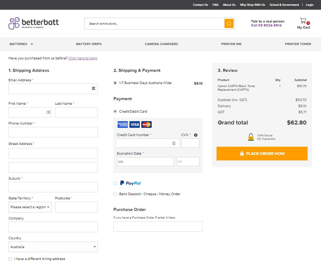 One Page Checkout by OeStepCheckout for Magento 2 on an Australian eCommerce site
