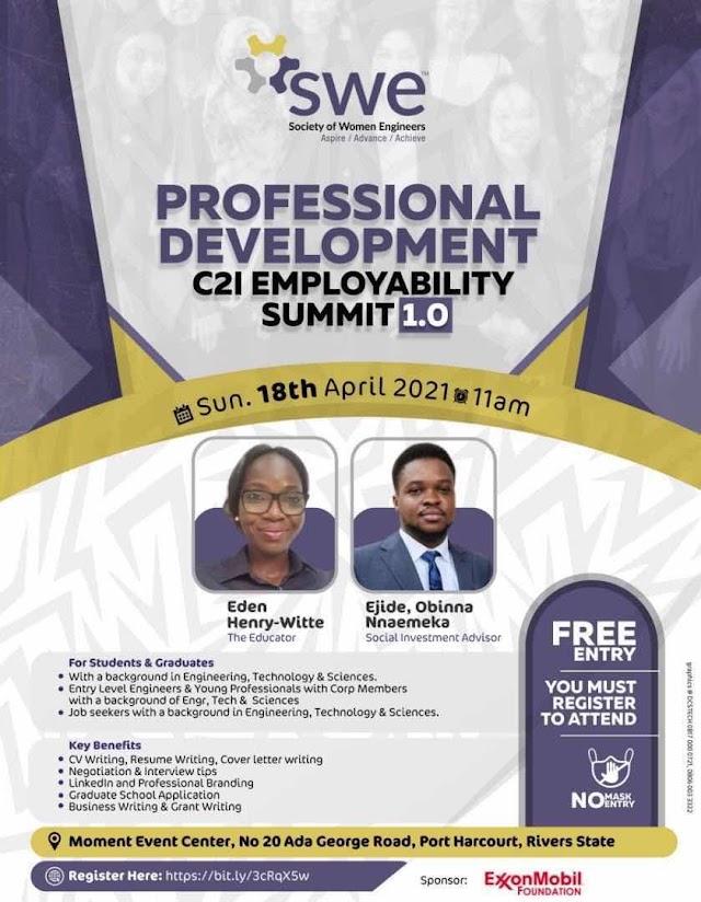 Plan to attend: Professional Development C2I Employability Summit 1.0