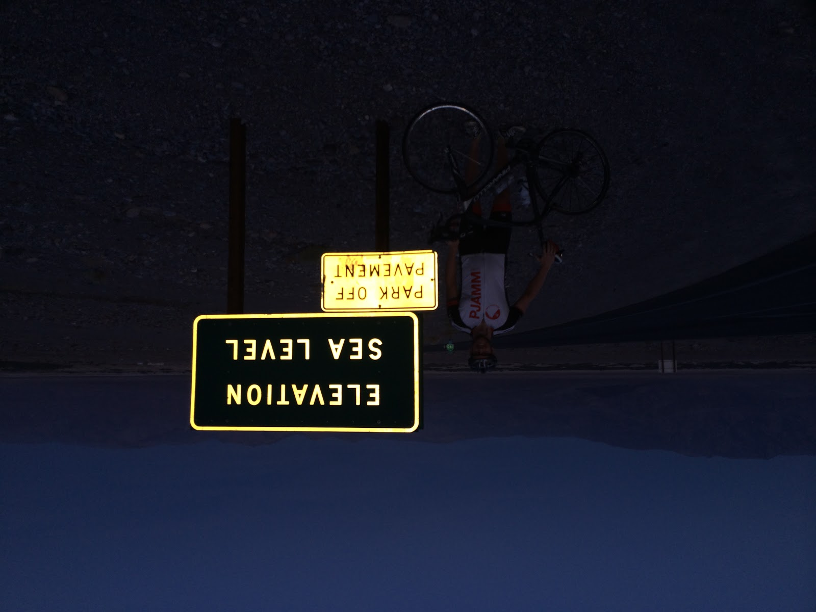 Bicycling Dantes View Death Valley Elevation sign at start of climb