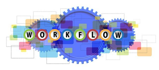 The word Workflow written inside circles with a colourful backdrop different shapes.