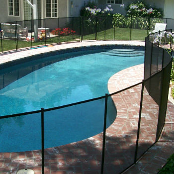 Mesh pool Fence around a brick decked pool