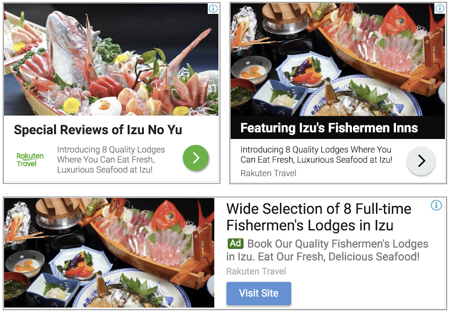 3 different responsive ads advertising for a seafood restaurant.