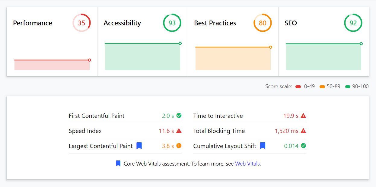 Google Lighthouse example report