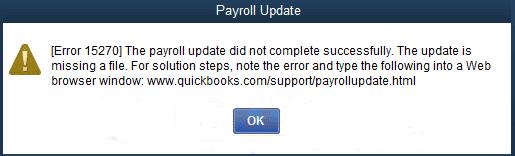 Quickbooks error 15270 message