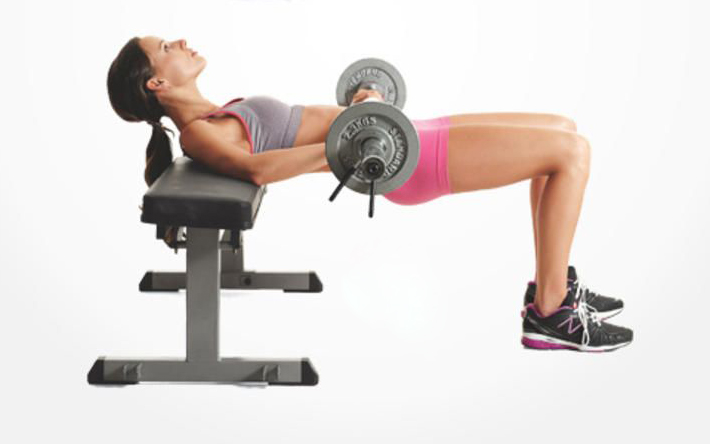 Add dumbells or a barbell to the hip thrust exercise to progress and keep strengthening the glutes.