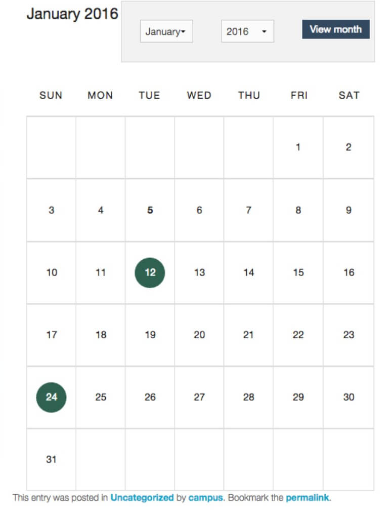 Example of calendar+ plugin