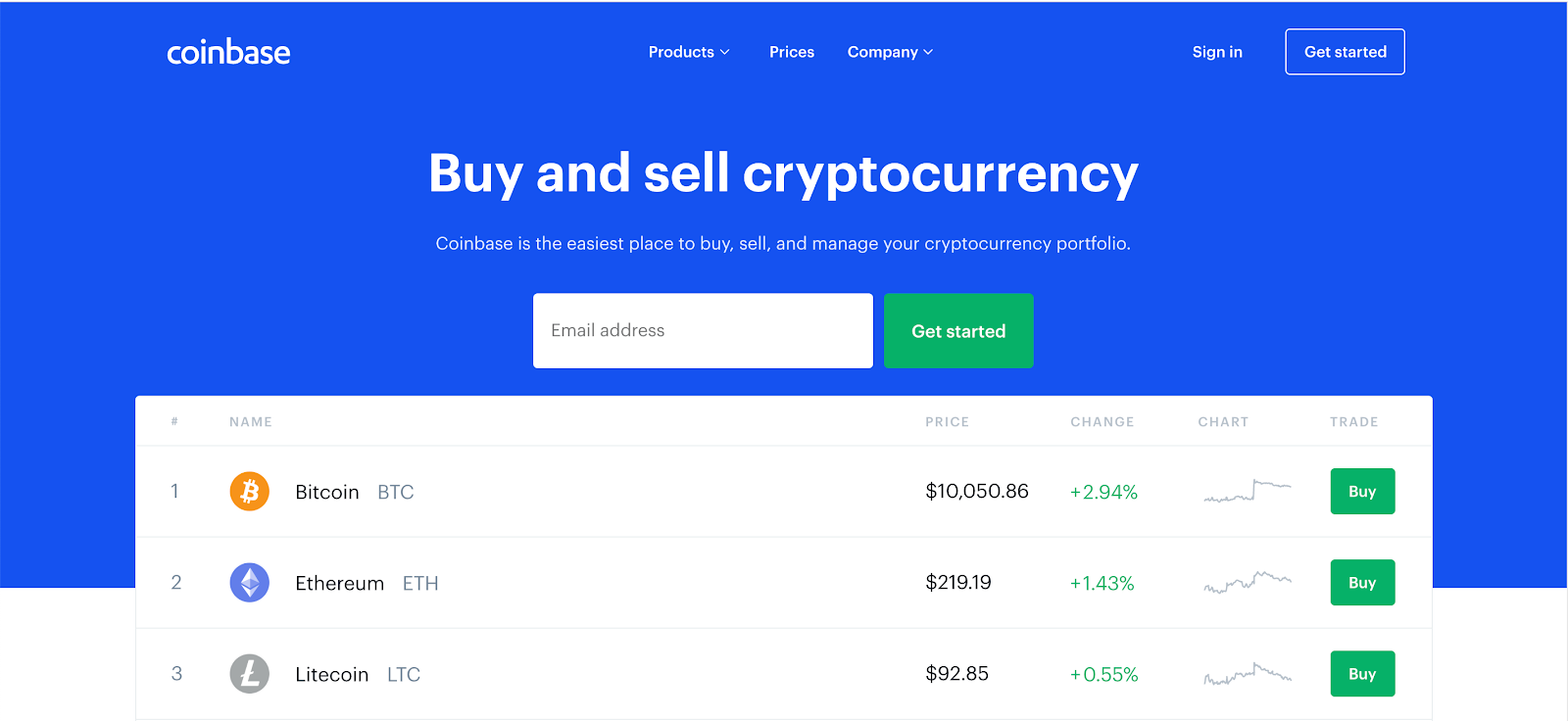 Coinbase cryptocurrency exchange homepage.