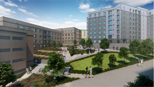 Artist impression of the Clydesdale and Birks Residential student flats development at the University of Exeter