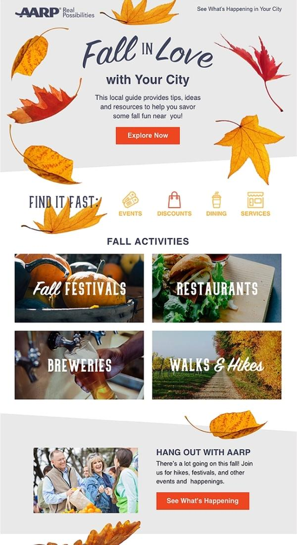 There's so much going on in this email, but it doesn't feel cluttered. The addition of the autumn leaves is a great touch, as well as the nod to fall colors in the menu icons and CTA buttons.