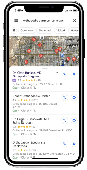 Google Local Search 3-Pack with ad