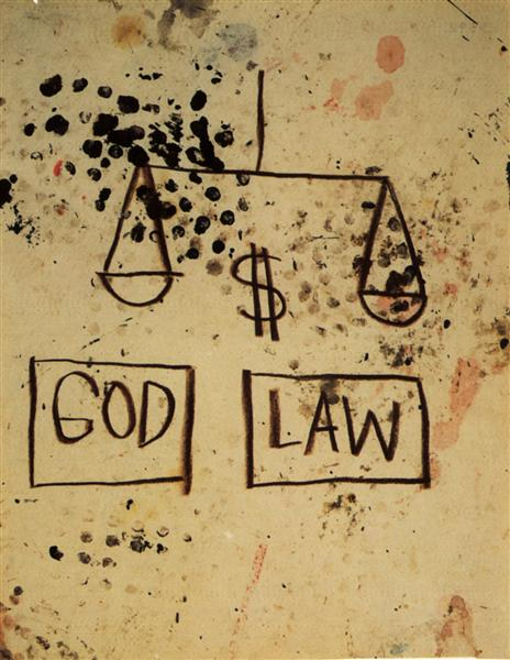 Jean-Michel Basquiat, God, Law [Deus, Lei], 1981. Fonte: WikiArt