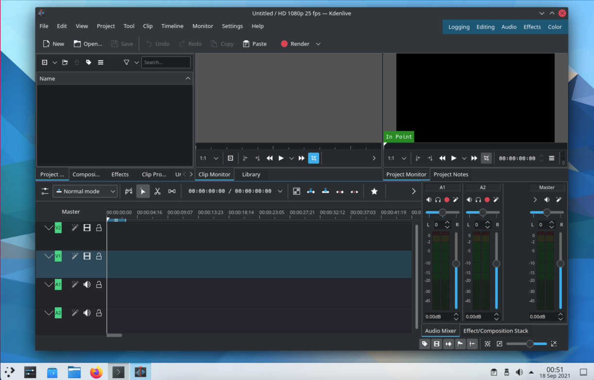 Launch Kdenlive on FreeBSD with KDE. Source: nudesystems.com