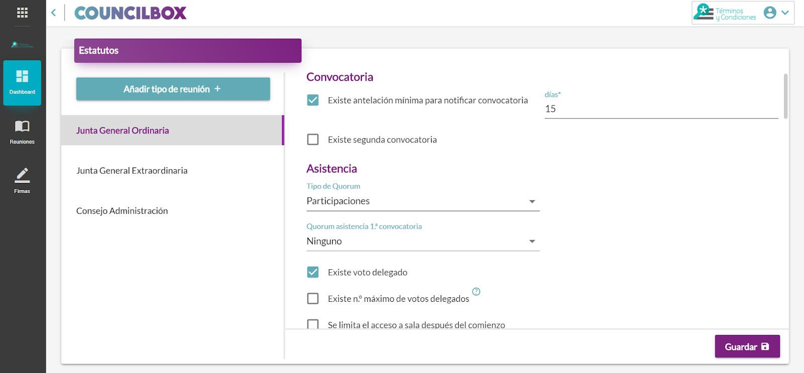 Tipos de reuniones diferentes para seleccionar por el usuario de Councilbox