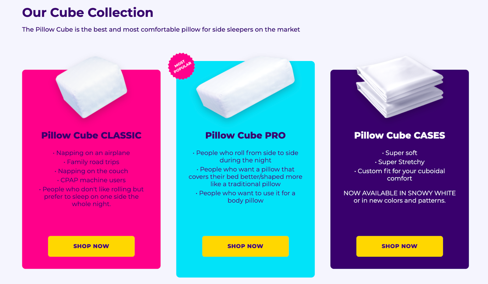 pillow cube options