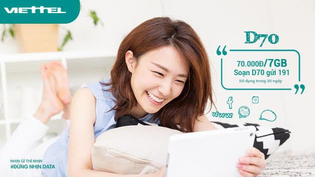 Gói D70 Viettel cho quý khách hàng nhiều ưu đãi đặc biệt