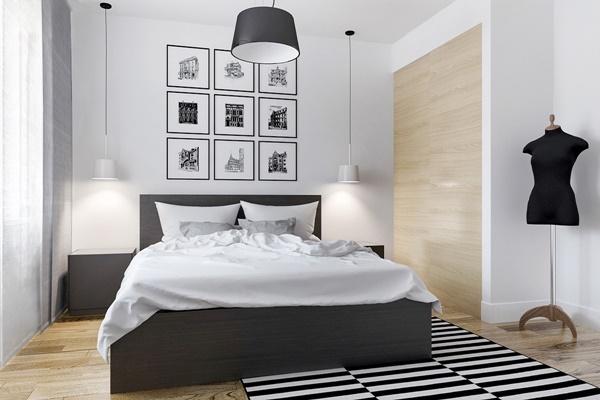 Phòng ngủ màu đen trắng 4