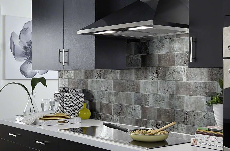 gray textured subway tile as kitchen backsplash