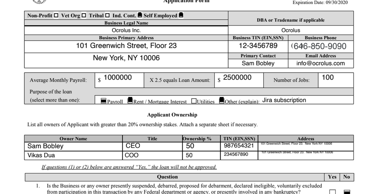 Ocrolus Sample PDF - SBA PPP Application.pdf