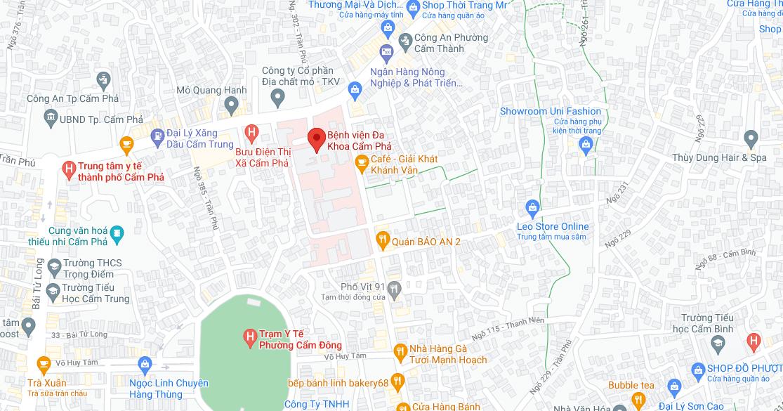 Địa điểm đón/trả khách tại Quảng Ninh: Bệnh viện đa khoa Cẩm Phả