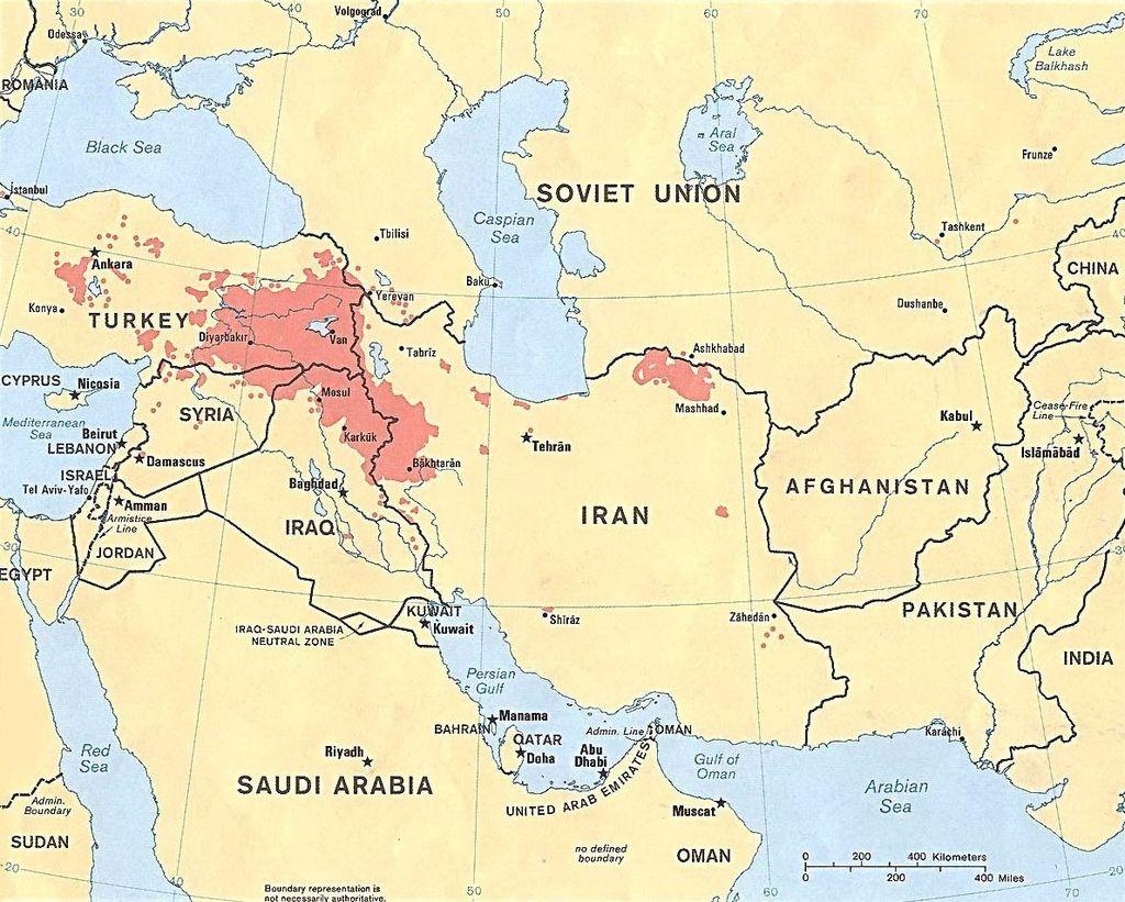 Місця щільного проживання курдів. Карта з Вікісховища