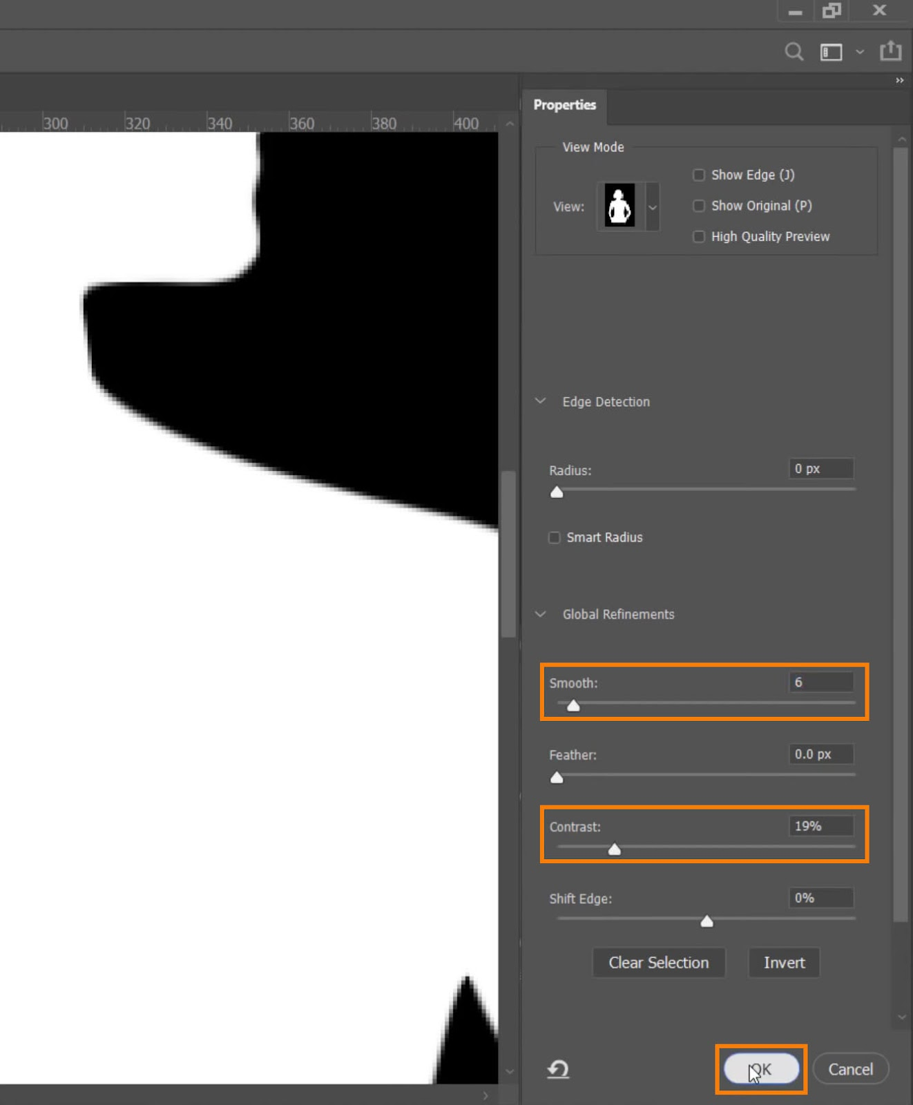 Adjust the Smooth and Contrast sliders