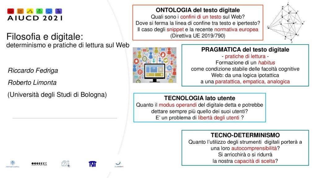 Roberto Limonta and Riccardo Fedriga - Filosofia e digitale: determinismo e pratiche di lettura sul web