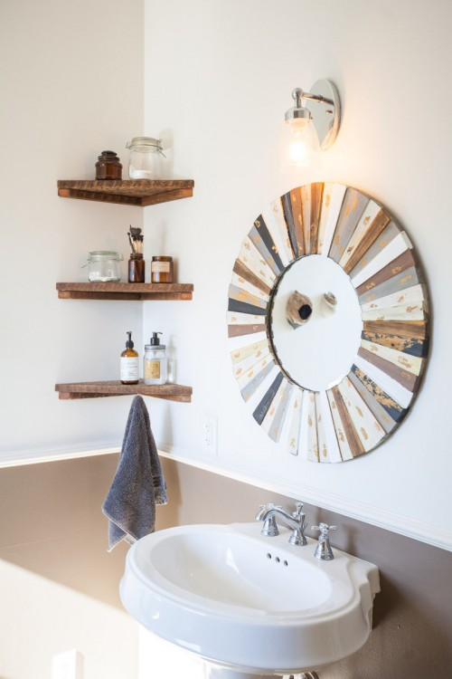 Corner Wall Shelves Instead of Big Cabinets in Powder Room