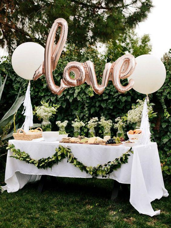 LOVE script Rose gold Mylar Balloons Party by SweetTeaPaper: