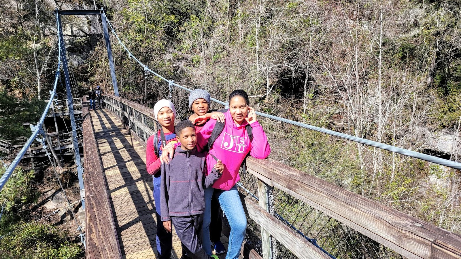 Mother and three sons stand on a bridge overlooking a gorge