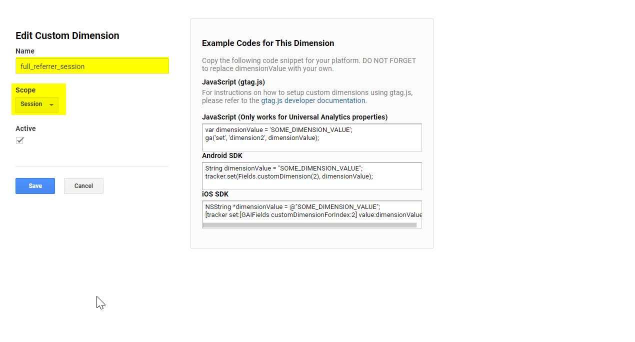 Setting a custom dimension in Google Analytics