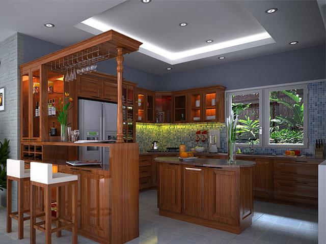 Quầy bar mini kết hợp với đảo bếp