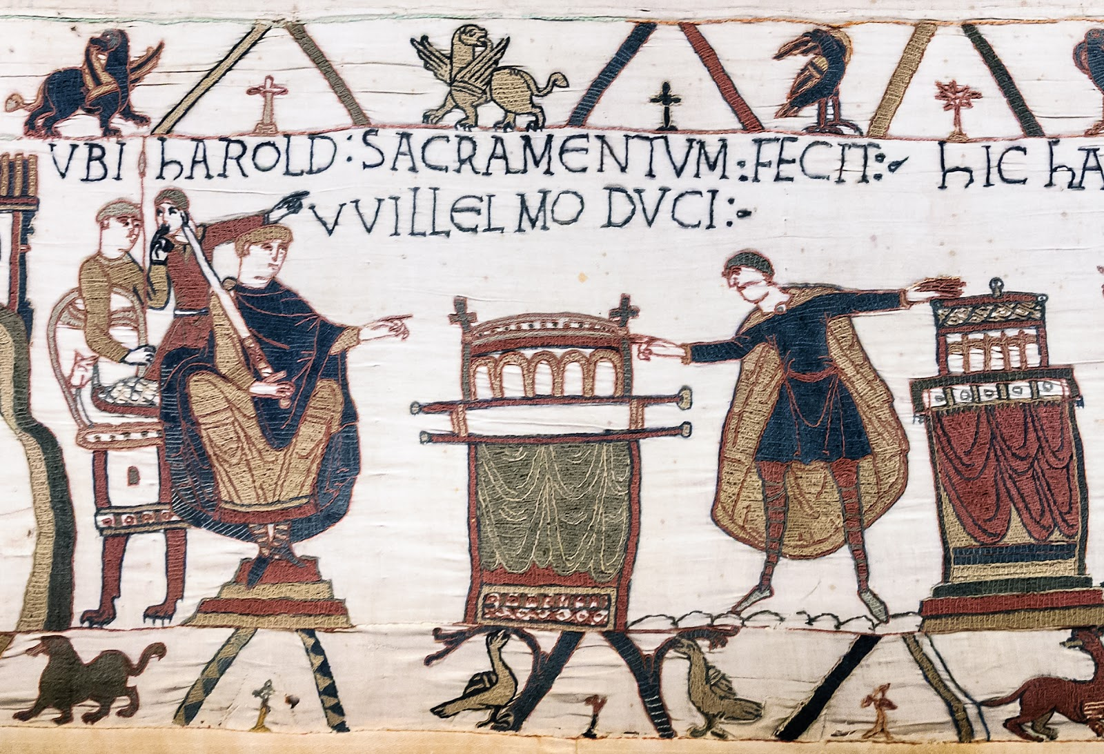 Image from the Bayeux Tapestry depicting the Norman conquest of England in which one ruler pledges fealty to another.