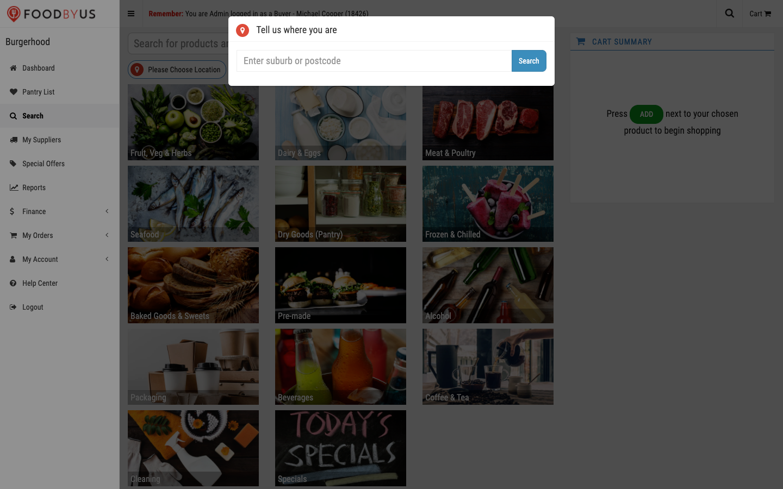 FoodByUs_dashboard_search_enter_suburb_or_postcode