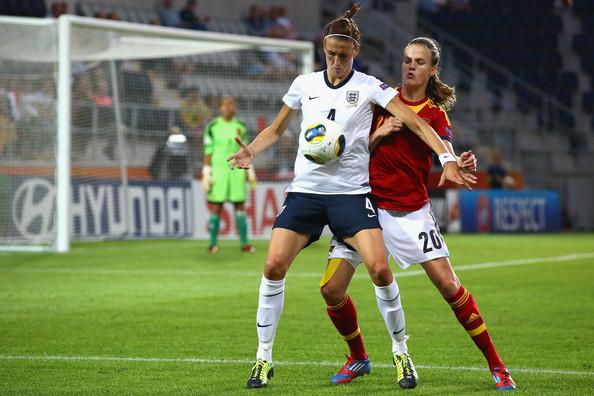 Jill Scott, Irene Paredes - England v Spain - UEFA Women's Euro 2013: Group C