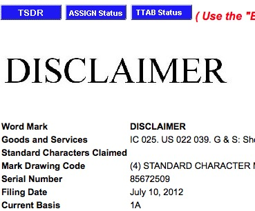 what is a trademark disclaimer