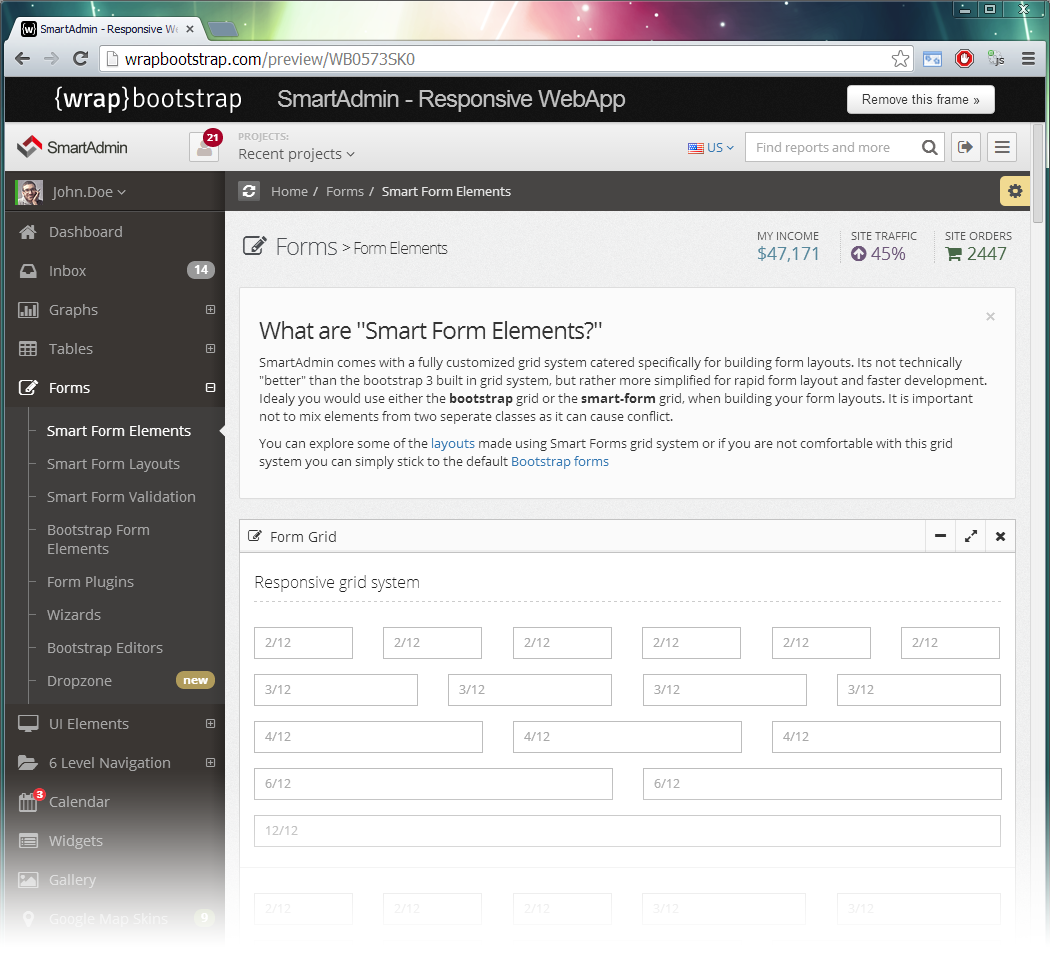 Smartadmin v14 responsive webapp bootstrap form layout falaconquin