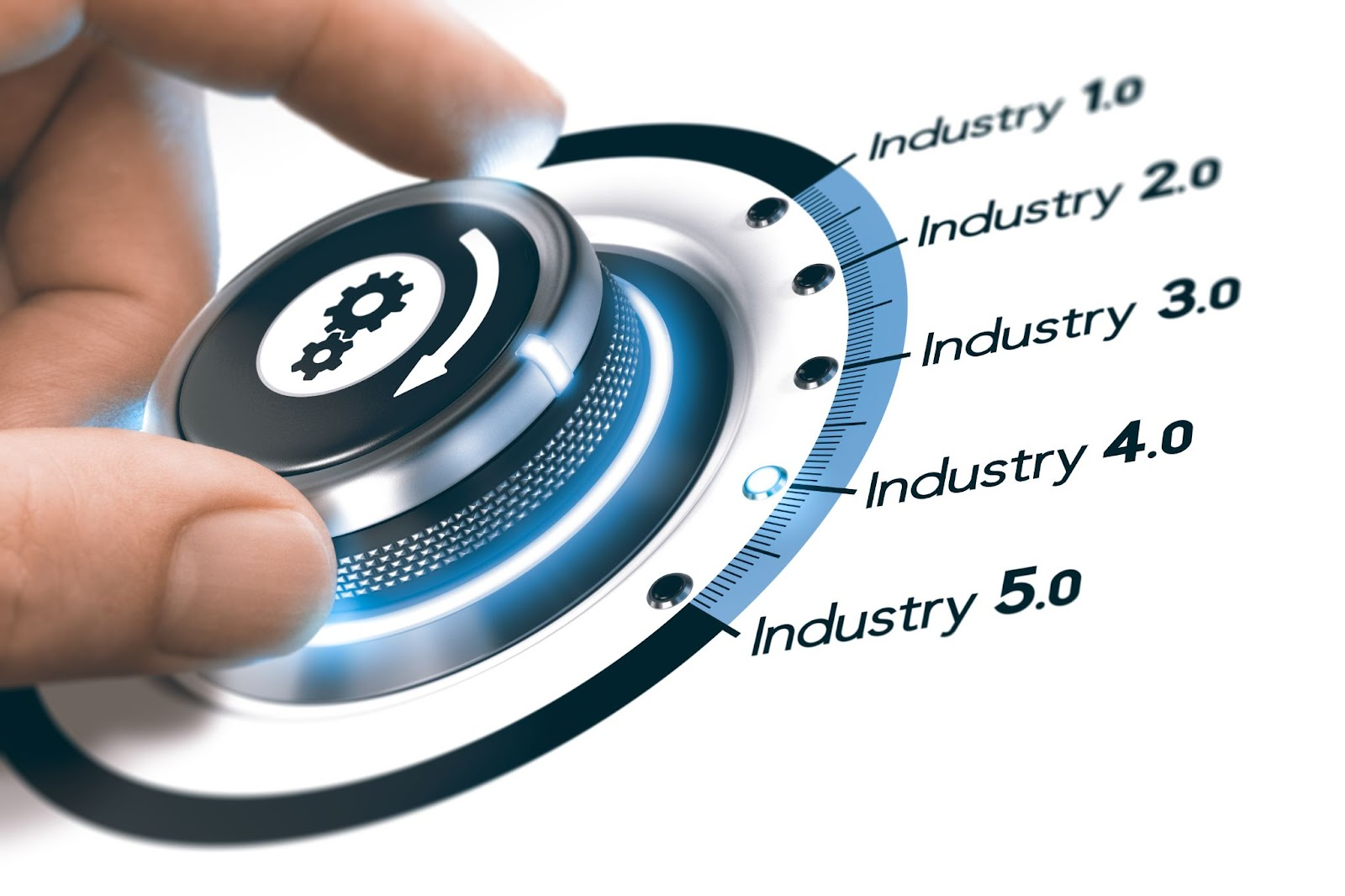 Picture of a dial showing all the industries from Industry 1.0 to Industry 5.0