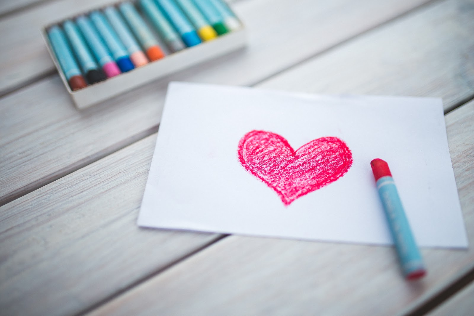 A heart drawn with a crayon on a piece of paper