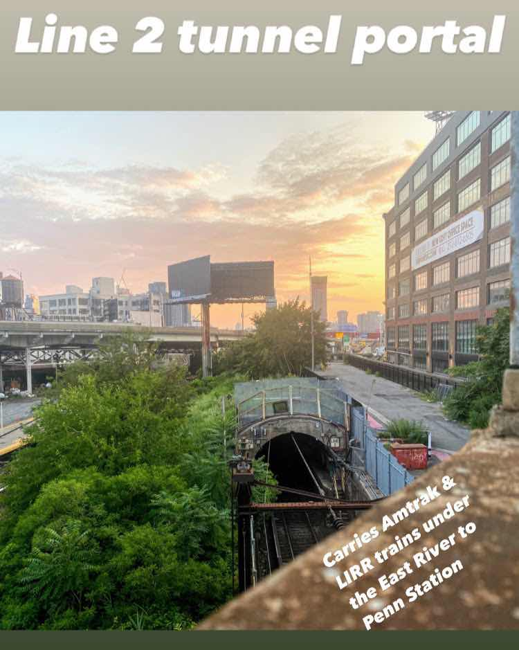 The East River tunnel carries Amtrak and Long Island Railroad trains from Penn Station into Queens — there are four tracks to the tunnel and each track has a tunnel portal.