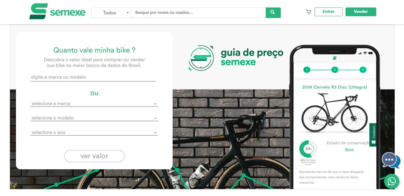 É possível descobrir o valor ideal para compra e venda das bicicletas ao inserir as informações. (Semexe/Reprodução)