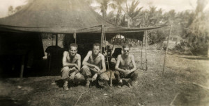 Sam Garber, Walt at center and Sgt. Maloney, Philippines 1944