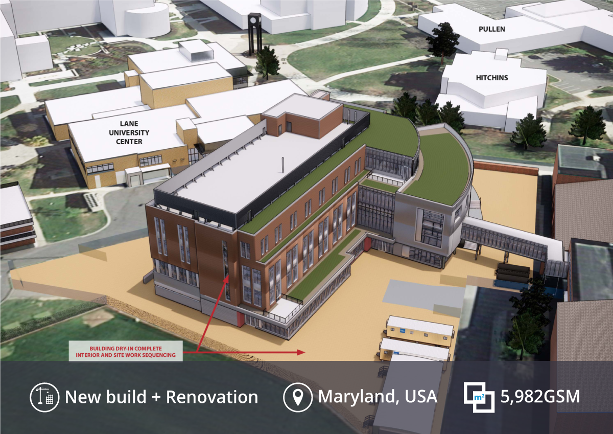 A SketchUp model showing the Frostburg University Education & Health Science Center project.