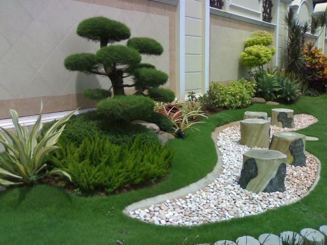 Mẫu tiểu cảnh với sự kết hợp độc đáo giữa cây cảnh với đá sỏi