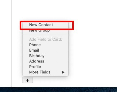 """Select the """"New Contact"""""""