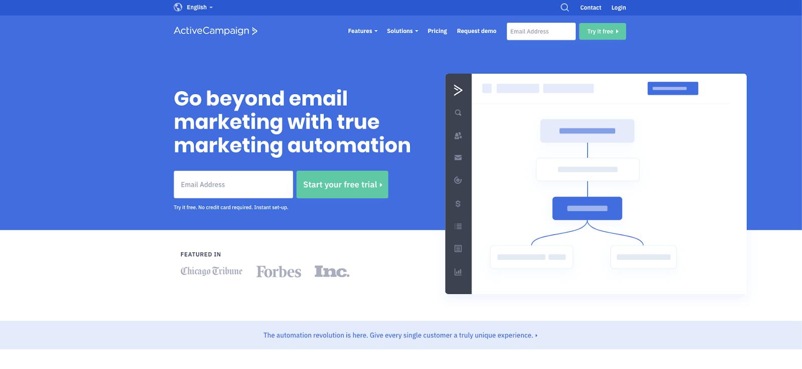 Go beyond e-mail marketing with true marketing automation - Website screenshot.