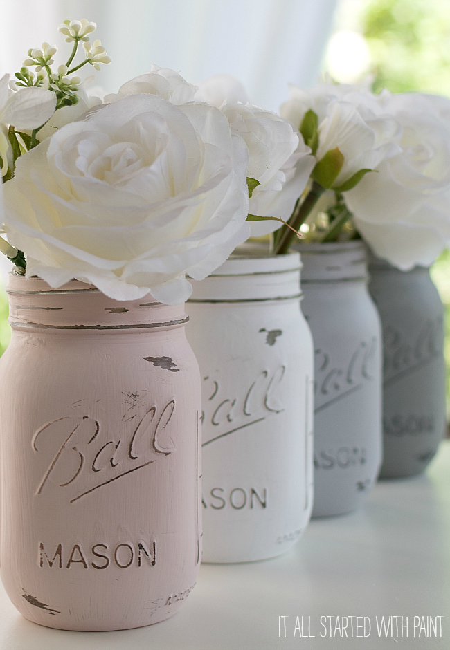 Painted Mason Jars: These 50 Cheap & Easy Farmhouse Decor Ideas will help you save money and transform your space.