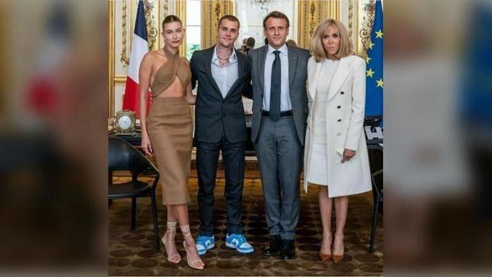 Justin và Hailey Bieber gặp gỡ Tổng thống Pháp tại Paris